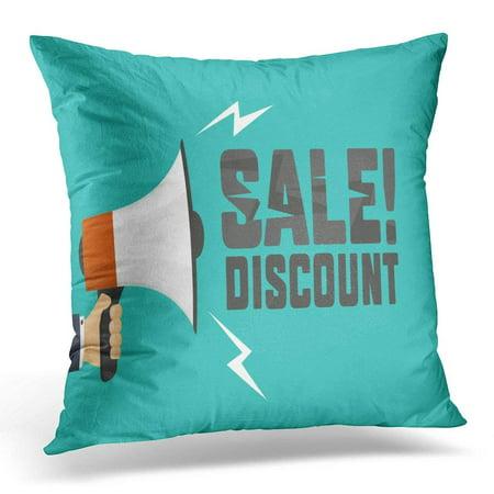 CMFUN Red Loud Shouts Megaphone Announcement of Discount Design Speaker Pillows case 18x18 Inches Home Decor Sofa Cushion Cover - Discount Home Decor
