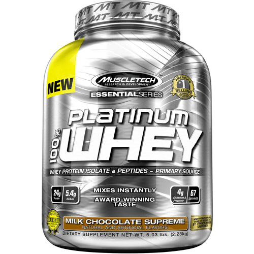 MuscleTech Essential Series Platinum 100% Whey Protein Isolate & Peptides Milk Chocolate Supreme Dietary Supplement Powder, 5.03 lbs