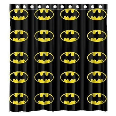 DEYOU Superhero Batman Logo Shower Curtain Polyester Fabric Bathroom Size 66x72 Inches
