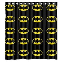 Ganma Superhero Batman Logotandard Shower Curtain Polyester Fabric Bathroom Shower Curtain 66x72 inches