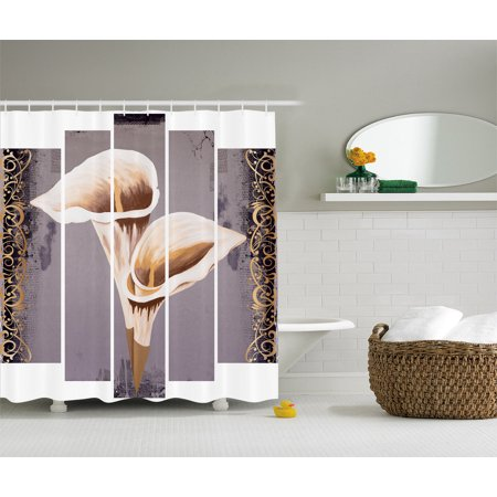 Lilies Oil Painting - Love Artwork Lilies Flowers Paisley Modern Abstract Oil Paintings Shower Curtain