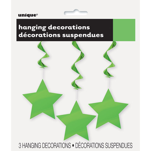 Star Hanging Decorations, 26 in, Lime Green, 3ct