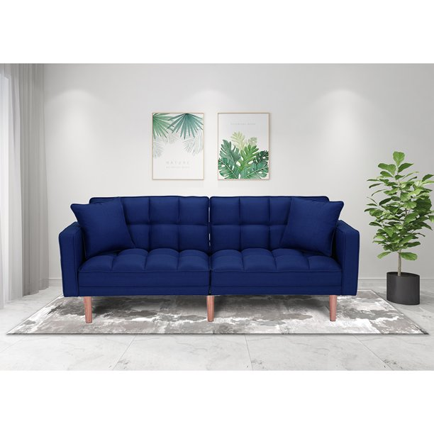 Blue Couch Seventh Convertible Sofa Bed Modern Fabric Sleeper Sofa Bed Futon Couches And Sofas Sleeper With Armrest Wood Legs Two Pillows Recliner Couch Living Room Furniture Sofa Q137 Walmart Com