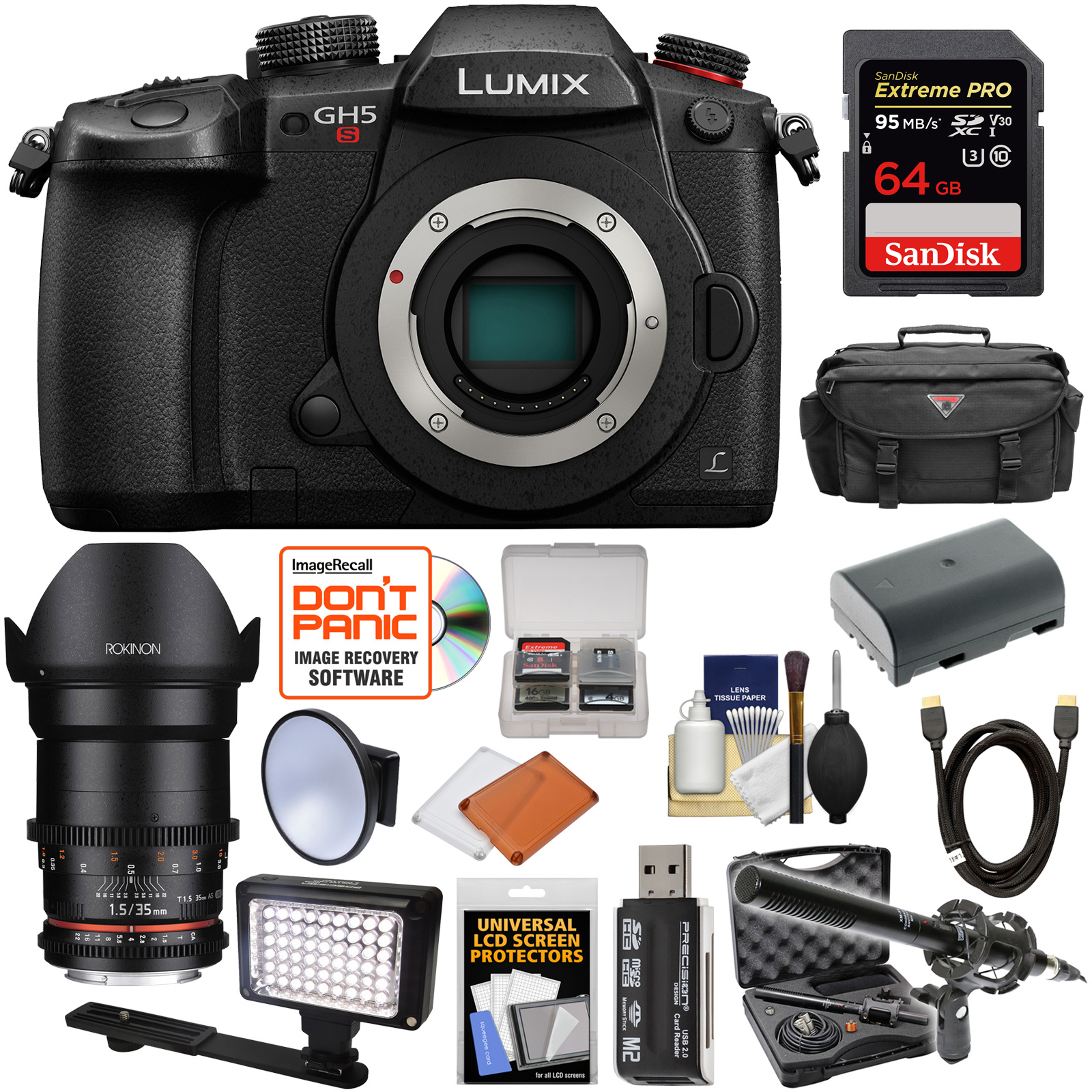 Panasonic Lumix DC-GH5S Wi-Fi C4K Digital Camera Body with 35mm T 1.5 CINE Lens + 64GB Card + Battery + Case +... by Panasonic
