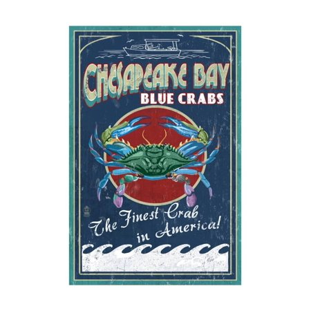Sailing Chesapeake Bay - Chesapeake Bay, Virginia - Blue Crab Vintage Sign Print Wall Art By Lantern Press