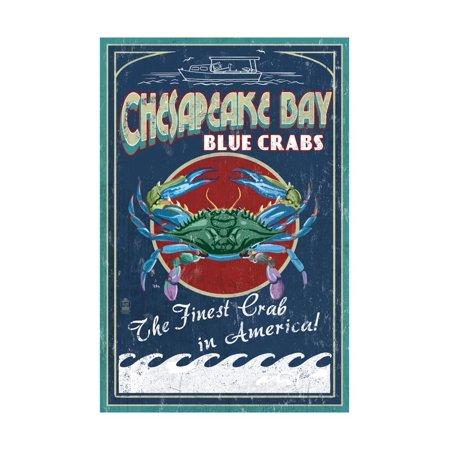 Chesapeake Bay, Virginia - Blue Crab Vintage Sign Print Wall Art By Lantern Press