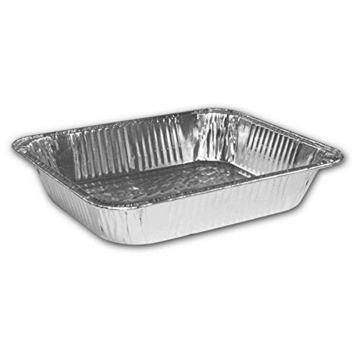 HFA 321, Half-Size Deep Aluminum Baking Foil Pans with Clear Dome Lid, Take Out Baking Disposable Foil Containers with Matching Covers (100)