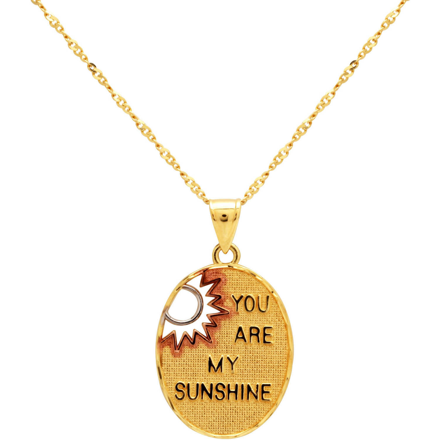 "Sterling Silver and 18kt Gold-Plated Oval ""You are my Sunshine"" Pendant, 18"
