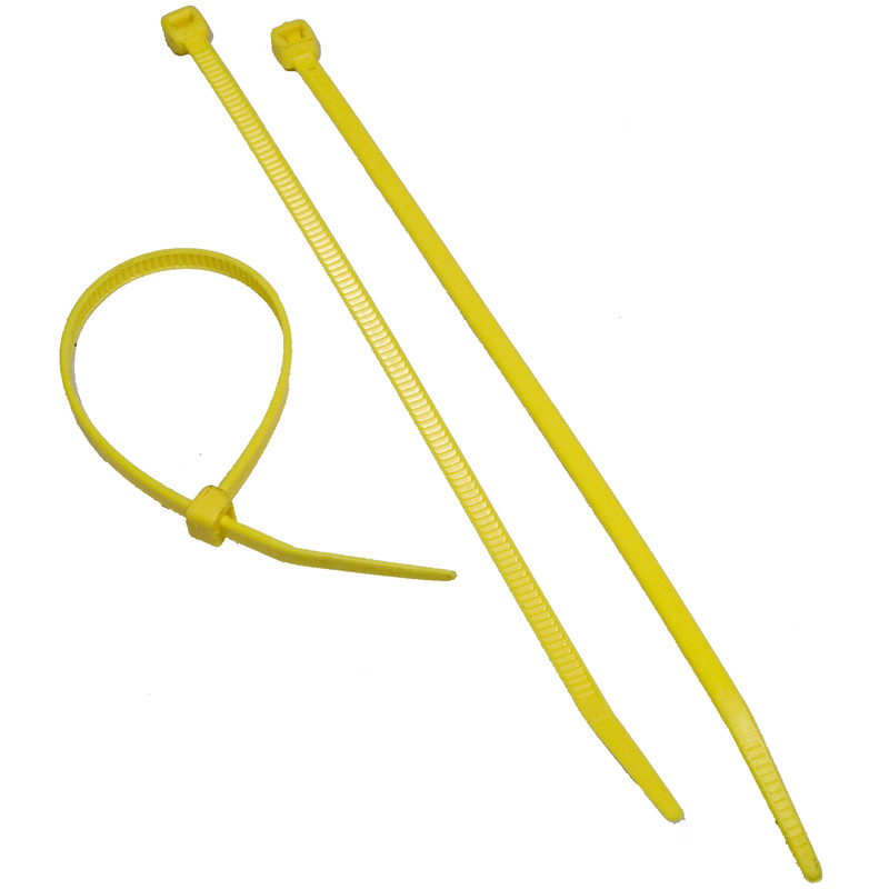 Fluorescent Yellow Nylon Cable Ties 50LB 8in. - 100Pk.