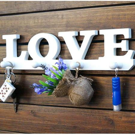 Love Hooks Clothes Robe Key Holder Bag Wall Decoration Hat Hanger Home Decor US ()