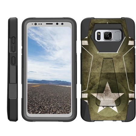 TurtleArmor ® | For Samsung Galaxy S8 Active G892 [Dynamic Shell] Dual Layer Hybrid Silicone Hard Shell Kickstand Case - Military Stars