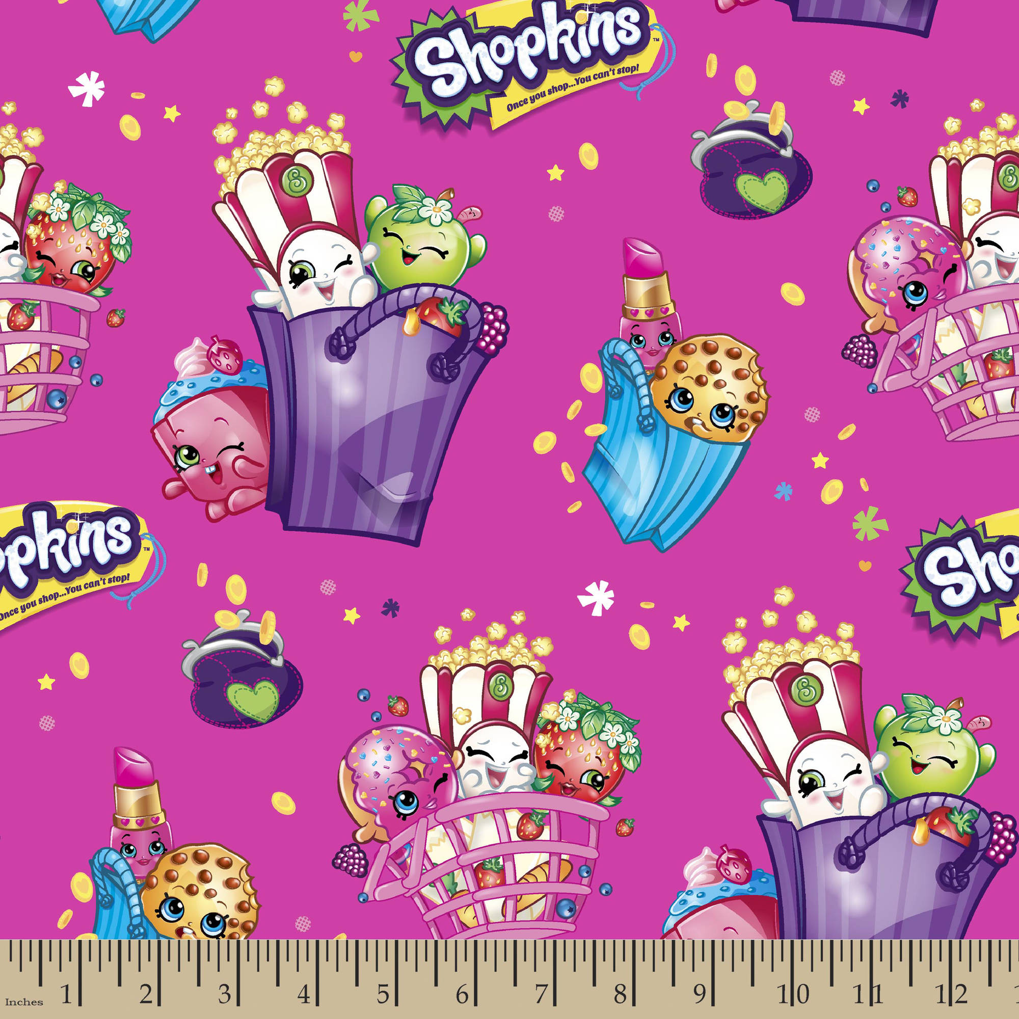 "Moose Shopkins Bags of Fun Fabric by the Yard, Pink, 43""/44"" Width"