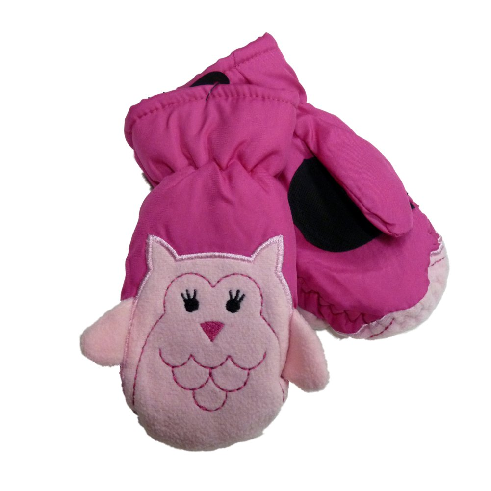 Aquarius Toddler Girls Pink Owl Thinsulate Ski & Snow Mittens