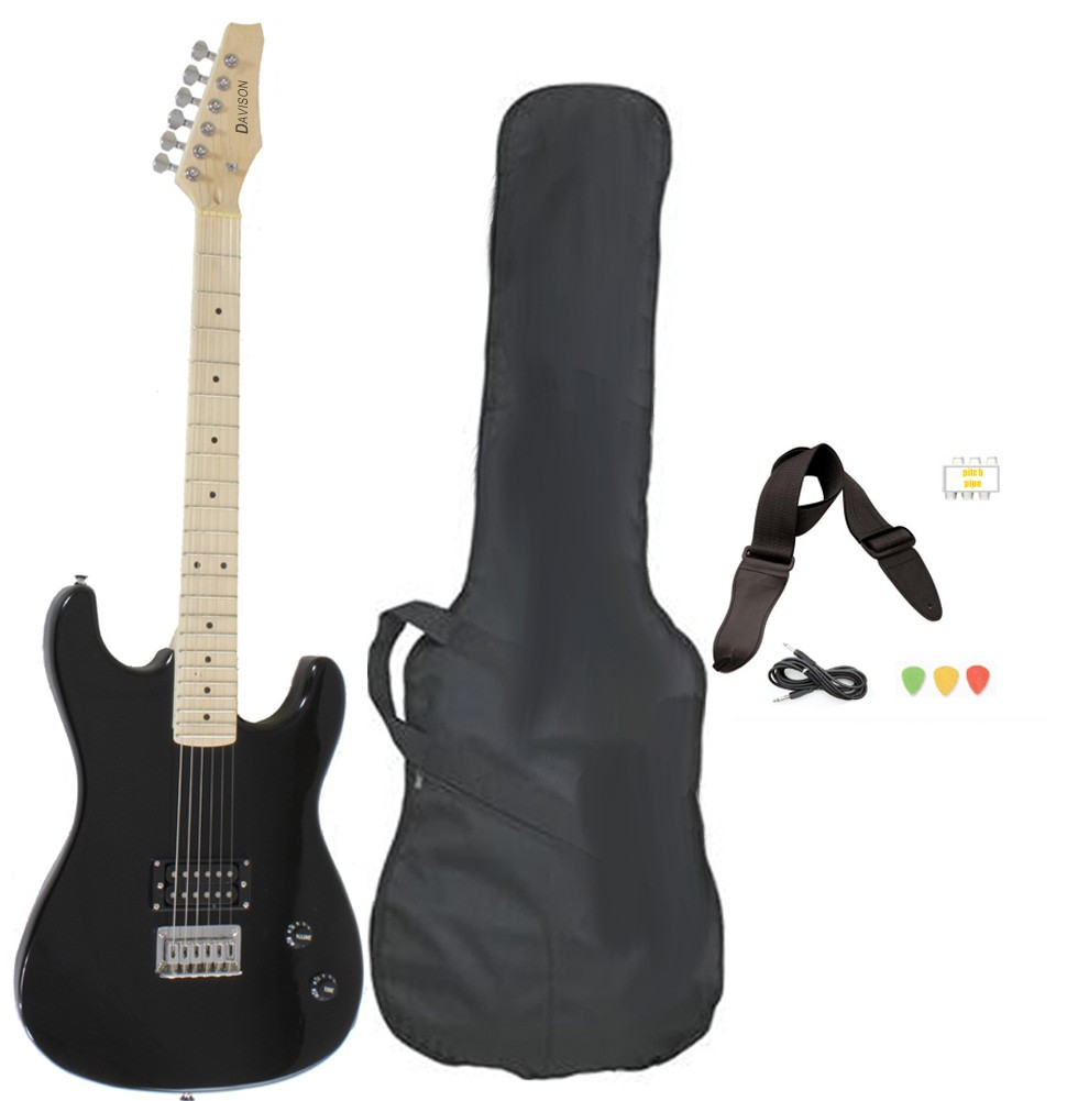 Davison Guitars Electric Guitar Black Full Size With Case Cord And Picks by