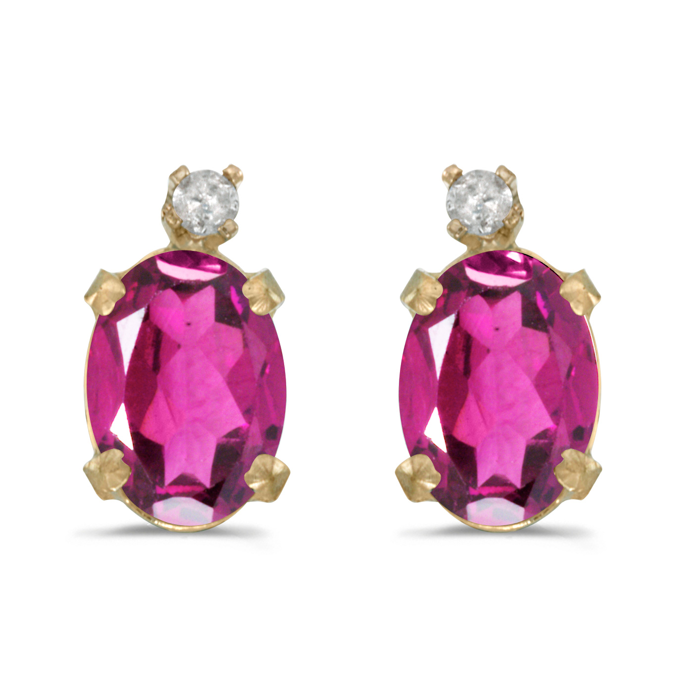 14k Yellow Gold Oval Pink Topaz And Diamond Earrings by Yellow-Gold Pins