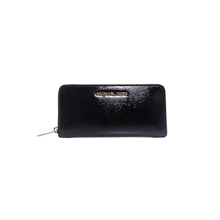 Michael Kors Jet Set Travel Black Patent Leather Zip Around Continental Accordion Wallet Patent Leather Zip Around Wallet