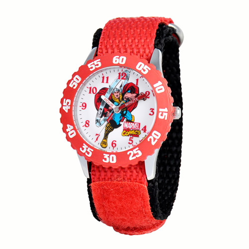 Marvel Thor Boys' Stainless Steel Time Teacher Red Bezel Watch, Red Nylon Strap