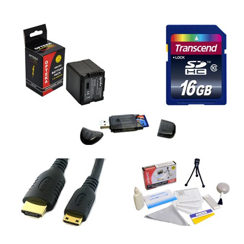Transcend 16GB SDHC Class 10 Memory Card and Opteka VBG-260 4000mAh Battery Package for Panasonic TM700K and... by Transcend