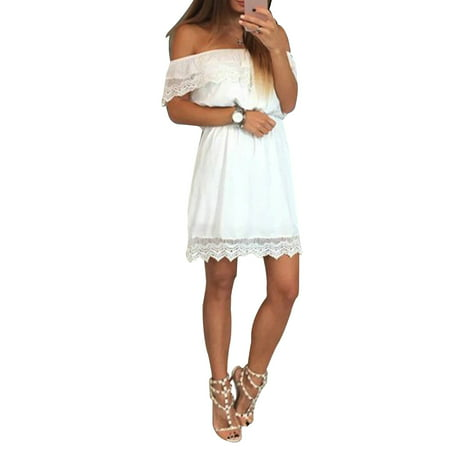 Lace Shoulder Button - Off Shoulder Dress Women Lace Spliced Summer Mini Sundress for Beach Party Cocktail Evening Short Sleeve Solid Dresses