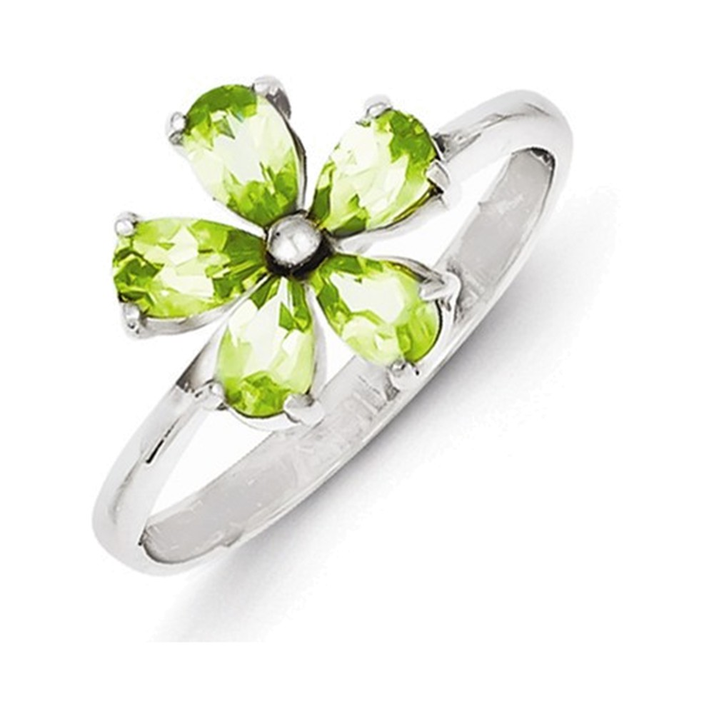 Sterling Silver Rhodium Peridot Ring Size 8
