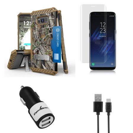 Samsung Galaxy S8+ Plus (2017) - Accessory Bundle with Tri-Shield [Military-Grade] Rugged Kickstand Case - [Real Tree Camo], Glass Screen Protector, Dual Port Car Charger, Type-C USB Cable, Atom LED](Atom Real Steel)