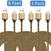 EEEKit 3-Pack USB Type Cable, 6 Feet(2M) USB-C Type-C Charging Charger Data Sync line Compatible with smartphones and tablets for Samsung S9/Note9/S8/S8 Plus/C7 Pro/C9 and more