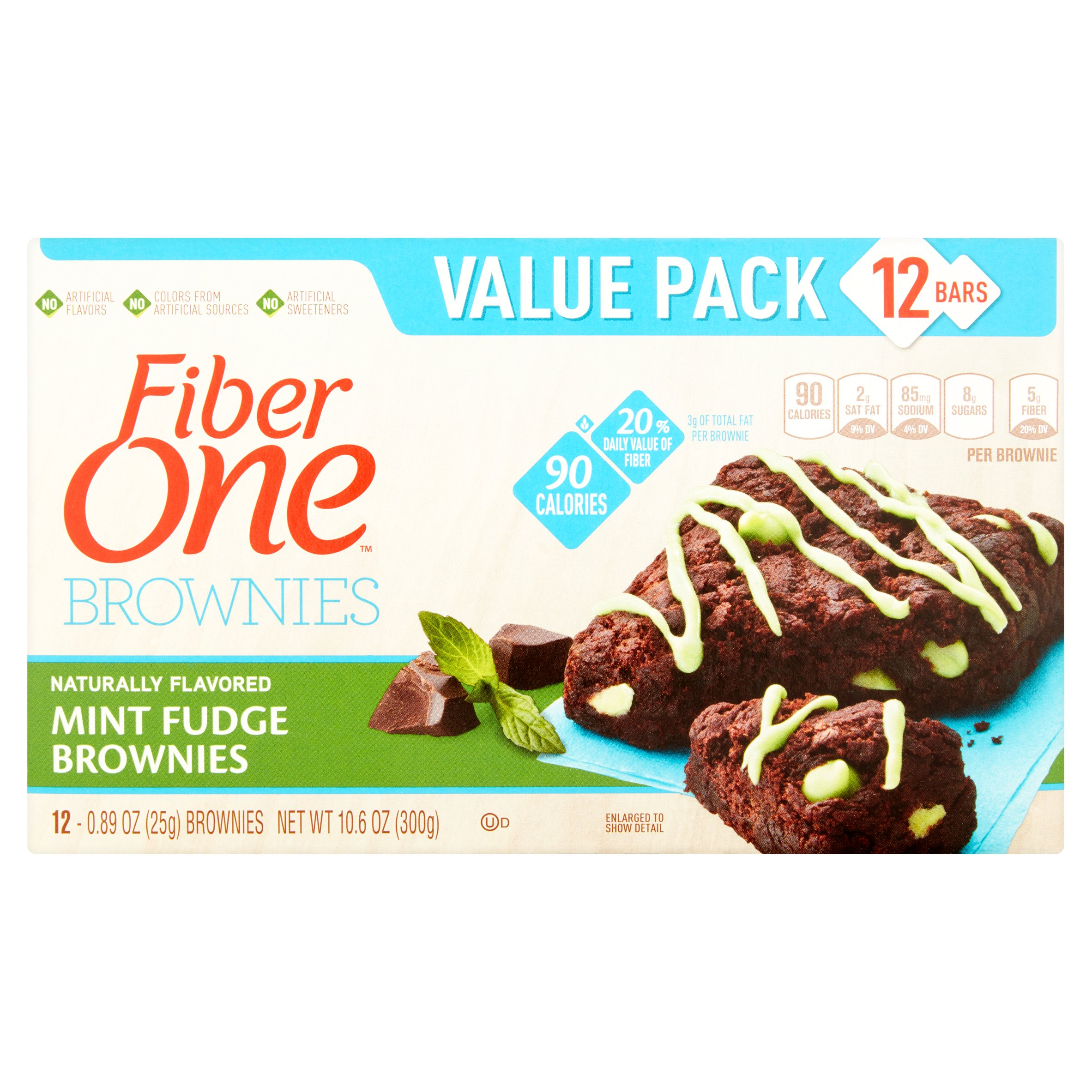 Fiber One 90 Calorie Mint Fudge Brownies 12 ct Box by General Mills