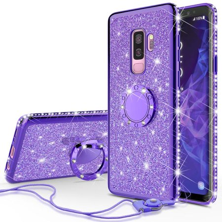 super popular 0978e 7507d Galaxy S9 Plus Case Glitter Cute Phone Case with Kickstand,Bling Diamond  Rhinestone Bumper Ring Stand Sparkly Clear Thin Soft Protective Cover  Samsung ...