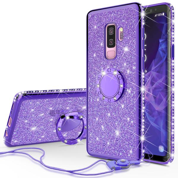 Galaxy S9 Plus Case Glitter Cute Phone Case with Kickstand,Bling Diamond Rhinestone Bumper Ring Stand Sparkly Clear Thin Soft Protective Cover Samsung Galaxy S9 Plus for Girls Women - Purple
