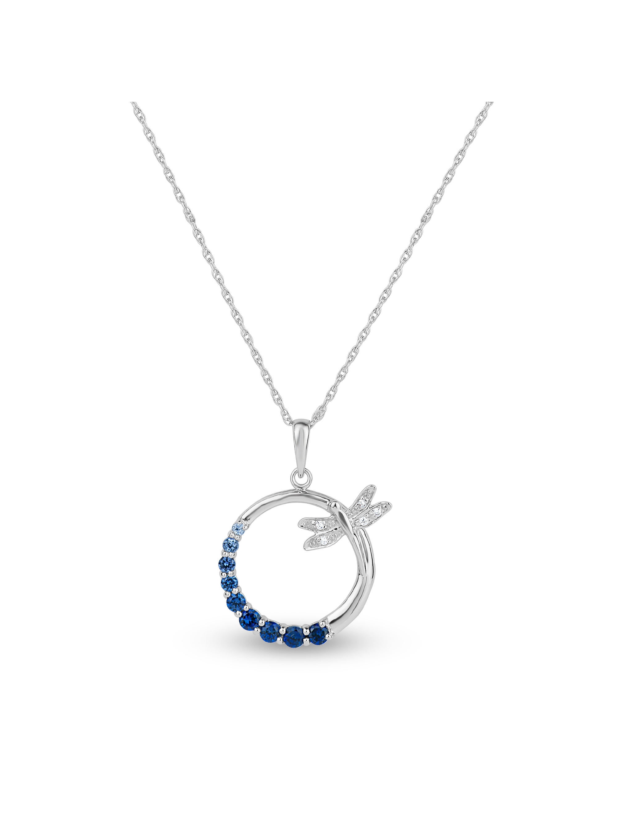 """Created Blue and White Sapphire Sterling Silver Graduated Circle of Stones with Dragonfly Pendant, 18"""" by Helen Andrews Inc."""