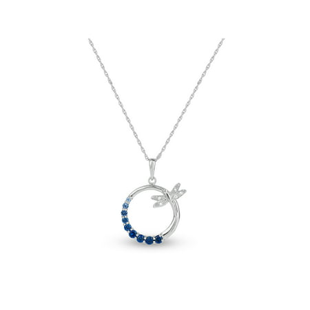 Created Blue and White Sapphire Sterling Silver Graduated Circle of Stones with Dragonfly Pendant, 18