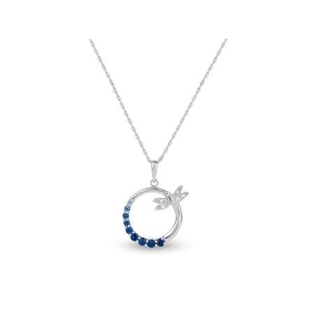 Created Blue and White Sapphire Sterling Silver Graduated Circle of Stones with Dragonfly Pendant, -