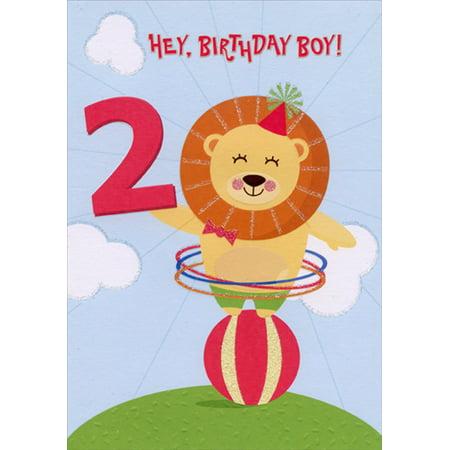 Designer Greetings Lion Balancing on Ball Age 2 / 2nd Birthday Card for Boy