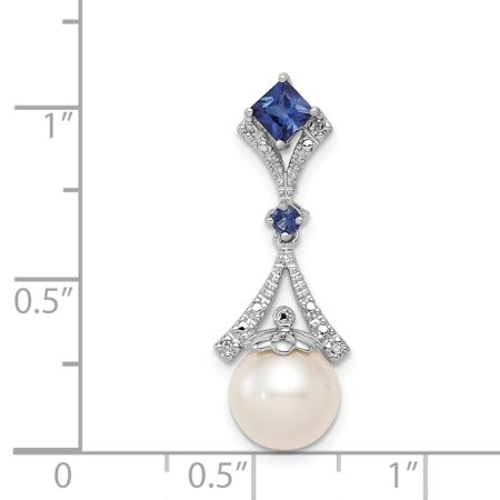 925 Sterling Silver Rhodium Plated Diamond Created Sapphire Freshwater Cultured Pearl Pendant - image 1 de 2