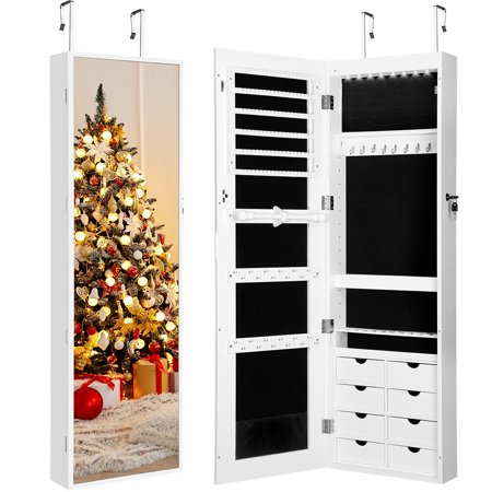 LANGRIA Jewelry Cabinet, DIY Jewelry Armoire Organize with 8 LED lights and key, easy for door mounted and wall mounted, with these height-adjustable shelves, White
