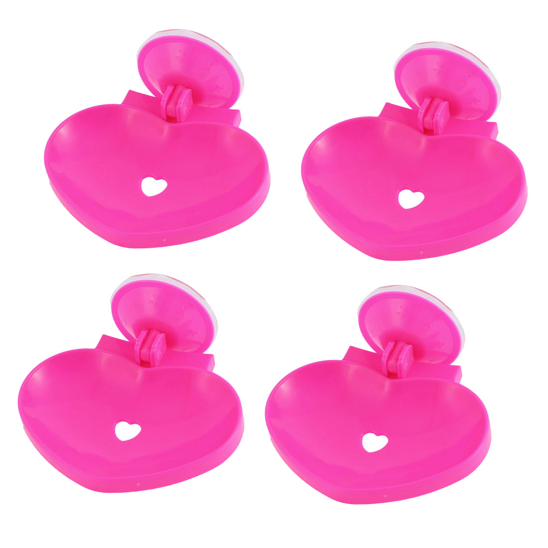 Bathroom Plastic Heart Design Hollow Out Suction Cup Soap Holder Fuchsia 4 Pcs