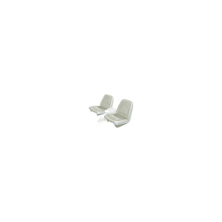 MACs Auto Parts  66-57172  Ford Thunderbird Front Bucket & Rear Bench Seat Covers, Full Set, Vinyl, White #43, Trim Codes G1-G9 Or P1-P9, With