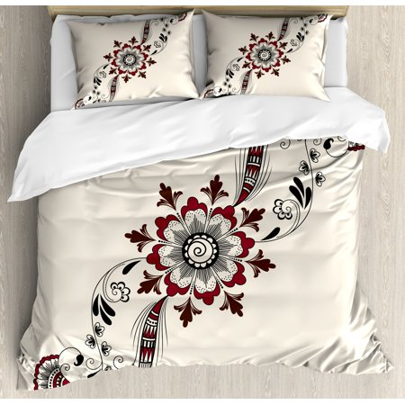 Henna Duvet Cover Set, Colorful Floral Pattern Asian Mehndi Arrangement Nature Inspired Abstract, Decorative Bedding Set with Pillow Shams, Maroon Brown Black, by Ambesonne