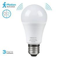 TORCHSTAR 3 Pack 9W A19 LED Motion Sensor Light Bulbs, Auto PIR Motion Detection Home Lighting Lamp, 6000K Pure White, E27 Base