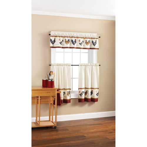 Mainstays Rooster Valance And Kitchen Curtains, Set Of 2