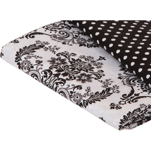 Bacati - Classic Damask Fitted Crib Sheet 100% Cotton Percale,  White/Black
