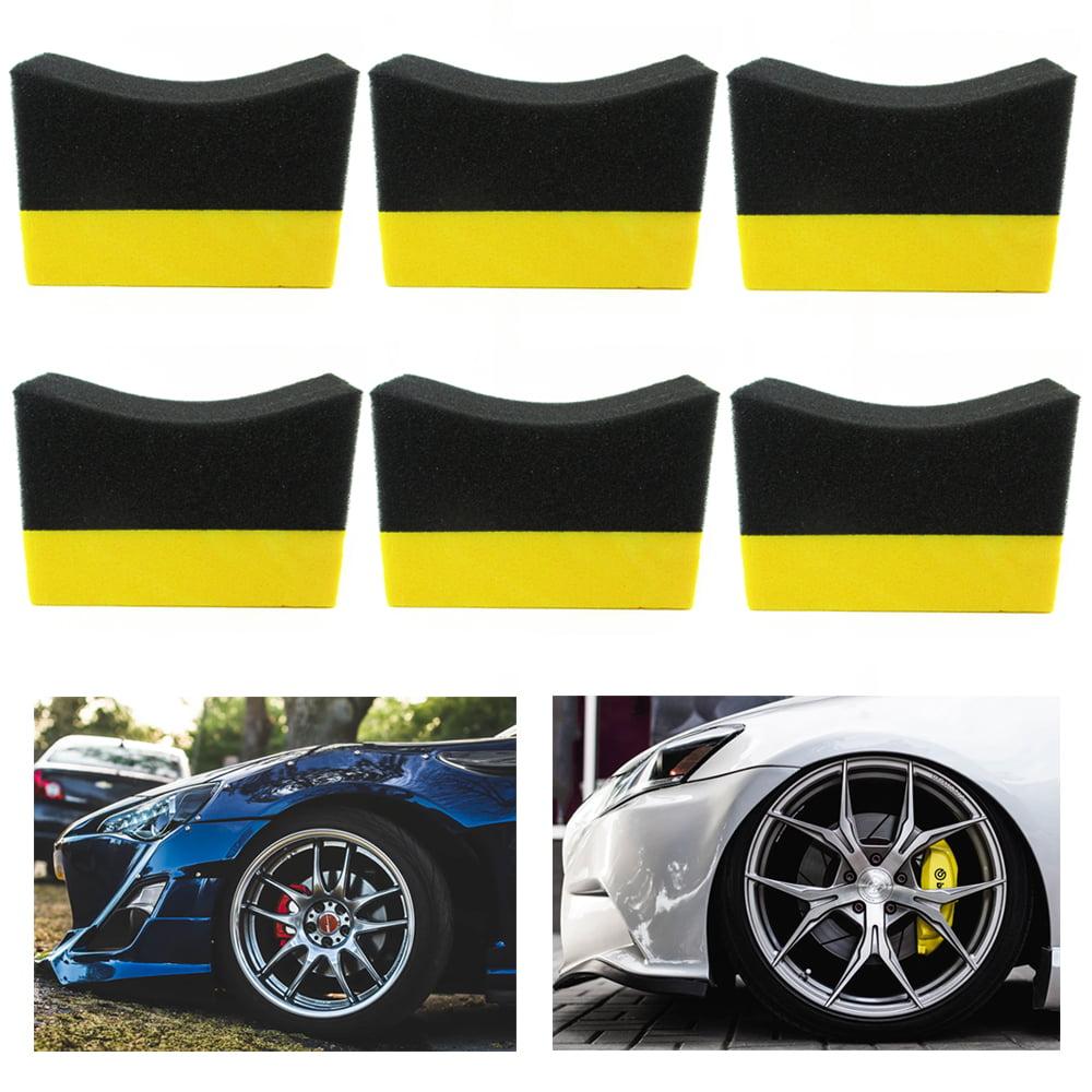 6 Tire Dressing Applicator Pads Car Contour Sponge Gloss Shine Protectant Wheel