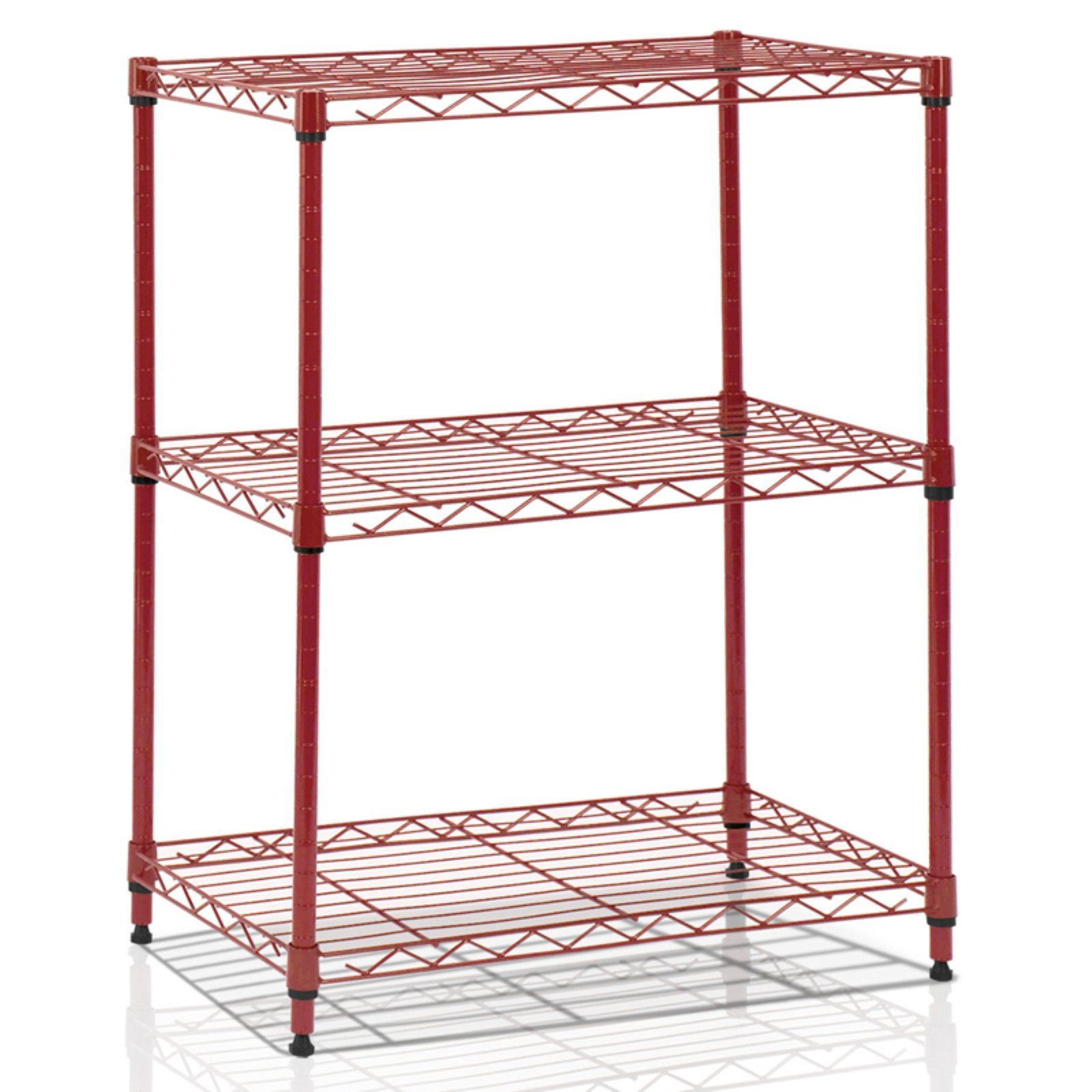 Furinno Wayar 3-Tier Heavy-Duty Wire Shelving, Burgundy