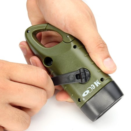 2Pcs Solar Powered Hand Crank Mini Flashlight MECO LED Crank Flashlight With Clip For Emergency Hiking Camping Climbing and Survival Gear, Green And Black ()