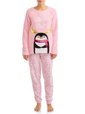 Holiday Time Women's and Women's Plus Size Plush Pajamas, 2pc Set