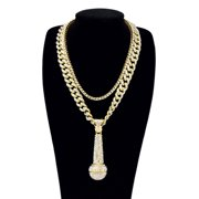 """Men's Hip Hop Style Gold Tone Plated 24"""" Iced Cuban Chain with Large Microphone Pendant and 20"""" Single Row Tennis Chain"""
