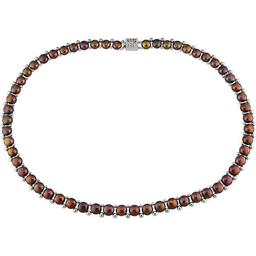 6-7mm Brown Cultured Freshwater Button Pearl Sterling Silver Necklace