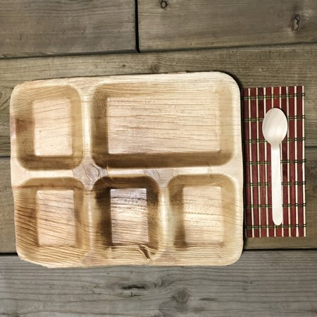 """Bio Mart Leaf Tableware/100% Natural-Eco-friendly/Re-usable/Elegant/Compostable/Disposable/Biodegradable/Party,Wedding,BBQPlates & Bowls- 10.5""""x8.5"""" Square Lunch Tray - Pack of 10 or 25 - image 1 de 2"""