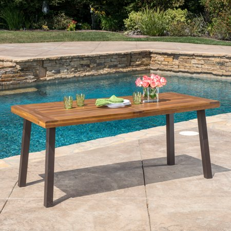 Paul Outdoor Acacia Wood Dining Table, Teak Finish