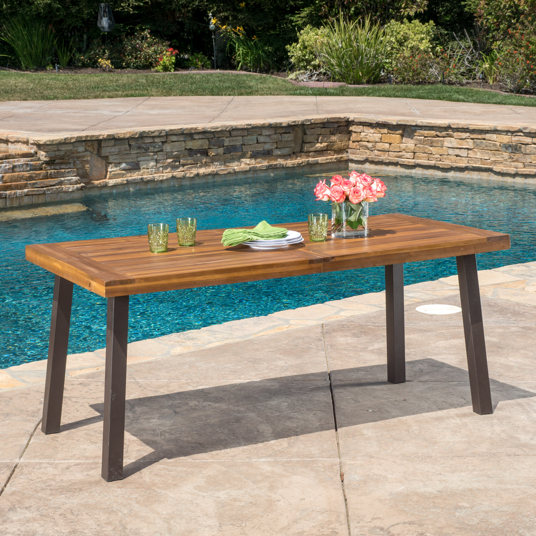 Paul Outdoor Acacia Wood Dining Table, Teak Finish